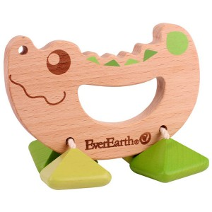 Everearth hochet en bois crocodile